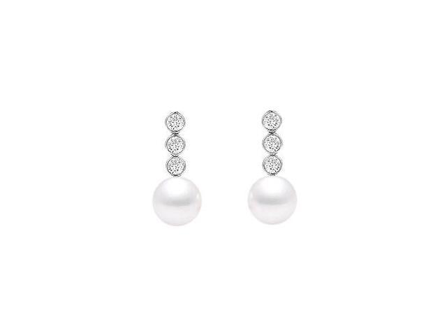 Cultured Akoya Pearl and Diamond Earrings  14K White Gold - 0.25 CT Diamonds