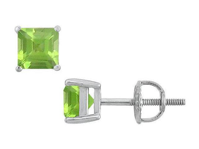 Peridot Stud Earrings  14K White Gold - 2.00 CT TGW