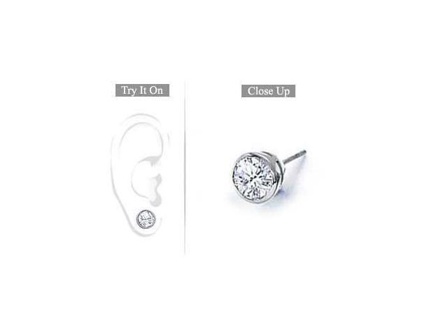 Mens 18K White Gold  Bezel-Set Round Diamond Stud Earrings  1.00 CT. TW.