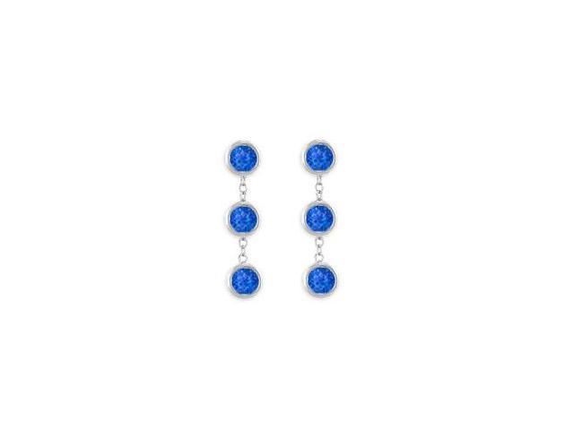 Six Carat Created Blue Sapphire Drop Earrings Bezel Set in 925 Sterling Silver Push Back