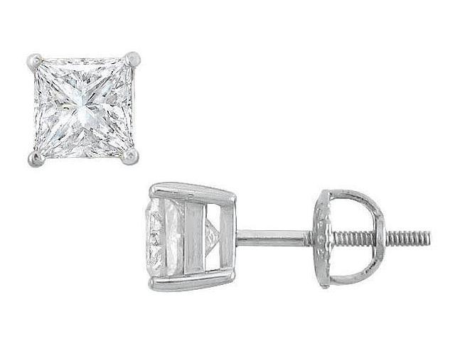 14K White Gold  Princess Cut Diamond Stud Earrings  2.00 CT. TW.