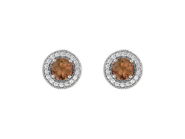 June Birthstone Smoky Quartz and Cubic Zirconia Halo Stud Earrings 14K White Gold 2.25 CT TGW