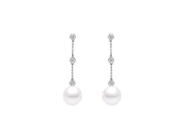 Cultured Akoya Pearl and Diamond Drop Earrings  14K White Gold - 0.25 CT Diamonds