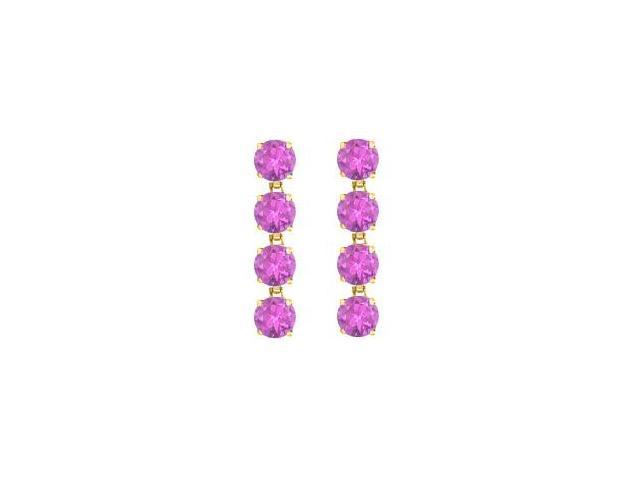 Amethyst Drop Earrings in 14K Yellow Gold Prong Set with Eight Carat Total Gem Weight