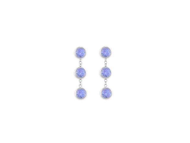 Drop Earrings of Created Tanzanite Total Six Carat Gem Weight in 925 Sterling Silver Bezel Set