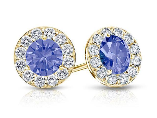 Created Tanzanite and CZ Halo Stud Earrings in 14K Yellow Gold 1.50.ct.tw