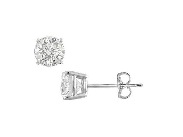 Rhodium Plating .925 Sterling Silver of Round CZ Stud Earrings 6 Carat Triple AAA Quality