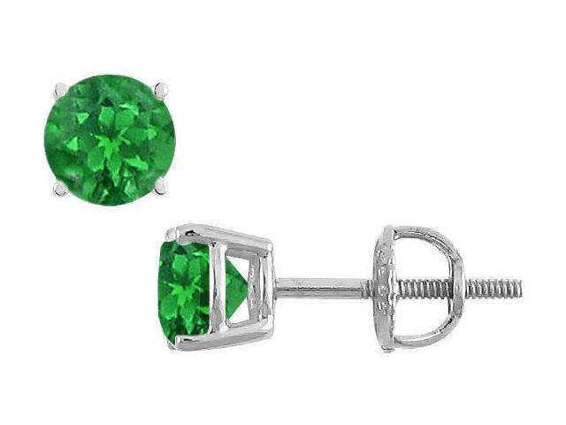14K White Gold  Prong Set Emerald Stud Earrings 1.50 CT TGW