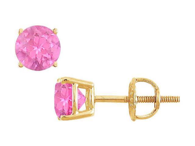 14K Yellow Gold  Prong Set Pink Sapphire Stud Earrings 1.50 CT TGW