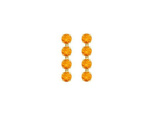 Drop Earrings Round Cut Citrine in 14K Yellow Gold Prong Set Eight Carat Total Gem Weight