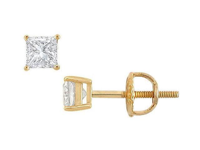 14K Yellow Gold  Princess Cut Diamond Stud Earrings  0.33 CT. TW.