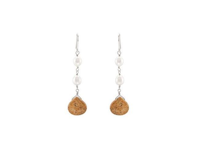 Genuine Jasper and Freshwater Cultured Pearl Earrings in .925 Sterling Silver