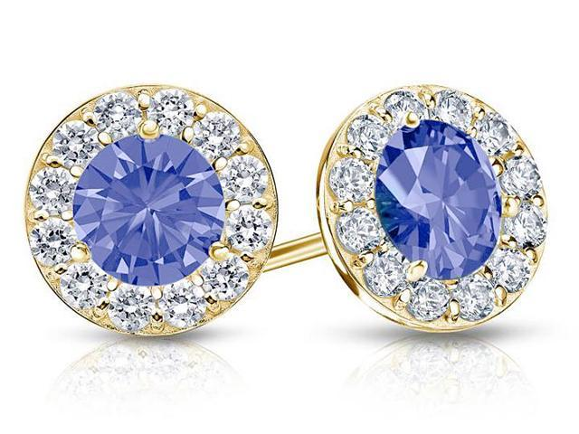 Created Tanzanite and CZ Halo Stud Earrings in 14K Yellow Gold 2.00.ct.tw