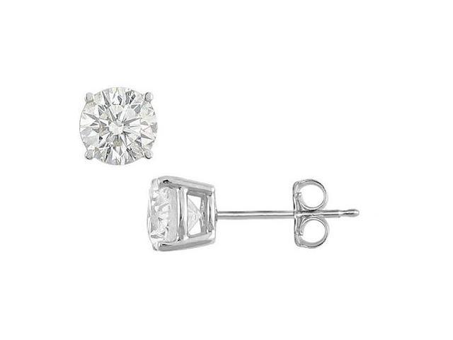 8 Carat Round Triple AAA Quality Cubic Zirconia Stud Earrings in .925 Sterling Silver Mounting