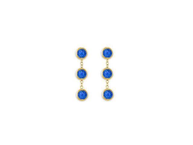 Six Carat Geniune Blue Sapphire Station Earrings Bezel Set in 14K Yellow Gold Screw or Push Back