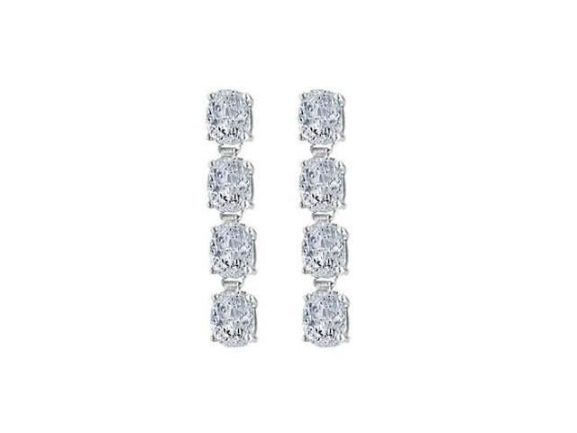 Drop Earrings Oval Cut Triple AAA Quality CZ in 14K White Gold Eight Carat Total Gem Weight