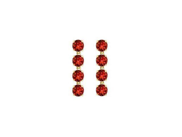 Totaling Eight Carat Round Garnet Drop Earrings in 14K Yellow Gold Prong Setting