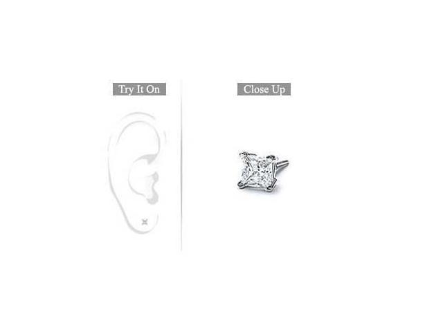 Mens 14K White Gold  Princess Cut Diamond Stud Earring - 0.15 CT. TW.