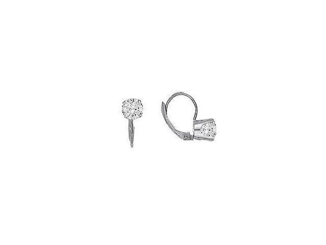 April Birthstone Cubic Zirconia Leverback Earrings in 14K White Gold 1.00 CT TGW