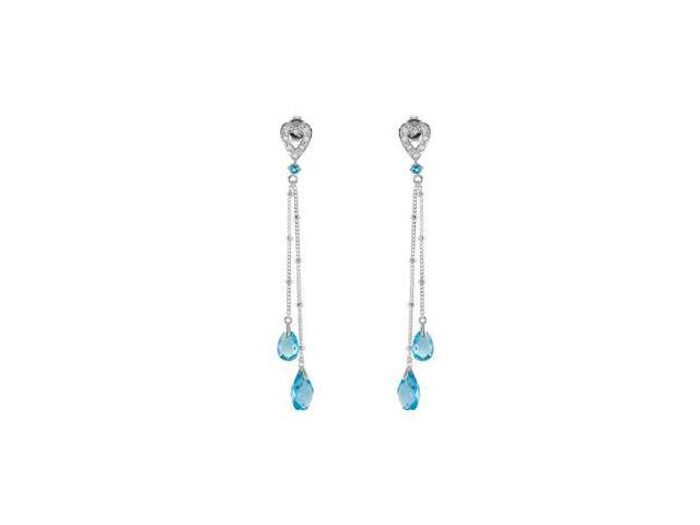 Swiss Blue Topaz and Cubic Zirconia in .925 Sterling Silver Dangle Heart Earrings
