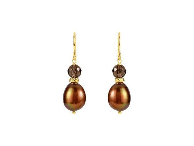 Freshwater Dyed Chocolate Cultured Pearl and Smoky Quartz Earrings in 14K Yellow Gold