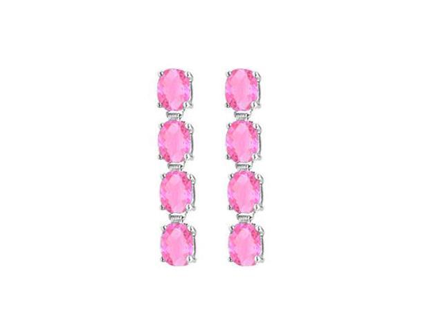 Created Pink Topaz Drop Earrings with Oval Cut in 14K White Gold Eight Carat Total Gem Weight