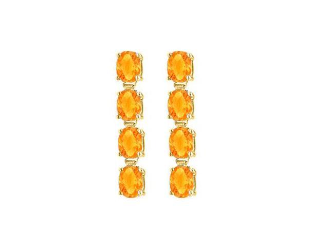14K Yellow Gold Oval Citrine Drop Earrings with Prong Set of Eight Carat Total Gem Weight