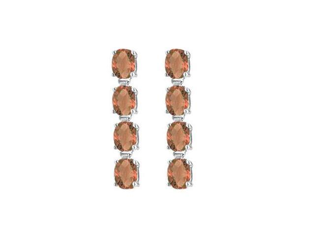 14K White Gold Drop Earrings of Oval Cut Smoky Quartz with Total Gem Weights of Eight Carat