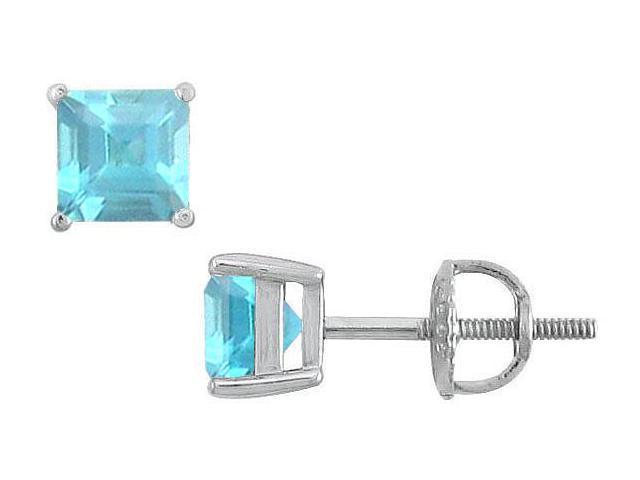 Aquamarine Stud Earrings  14K White Gold - 2.00 CT TGW