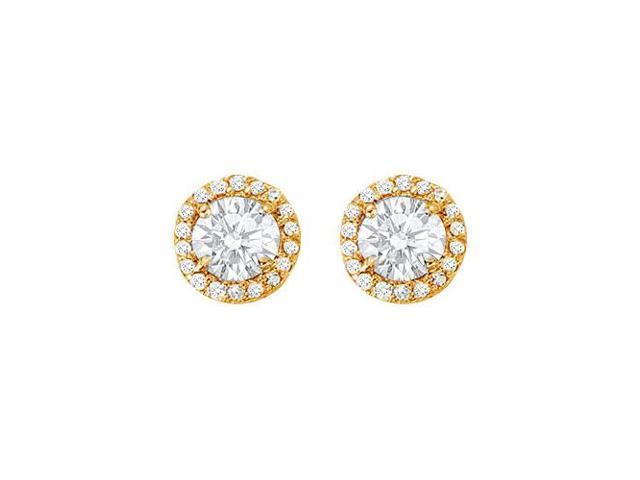 April Birthstone Cubic Zirconia Halo Stud Earrings in 14kt Yellow Gold 2.25 CT TGW