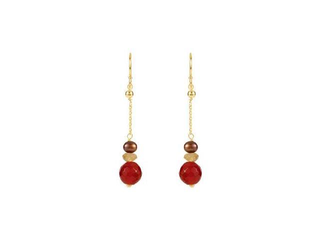 14K Yellow Gold Multi Gemstone and Freshwater Dyed Chocolate Cultured Pearl Earrings