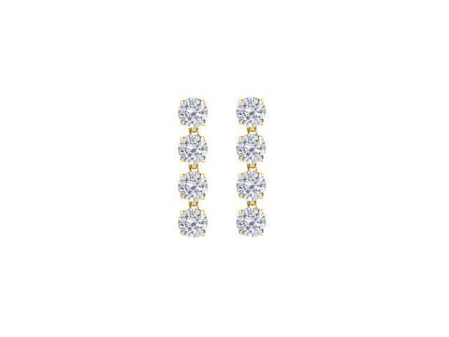 Triple AAA Quality Cubic Zirconia Drop Earrings in Sterling Silver 18K Yellow Vermeil 8 Carat