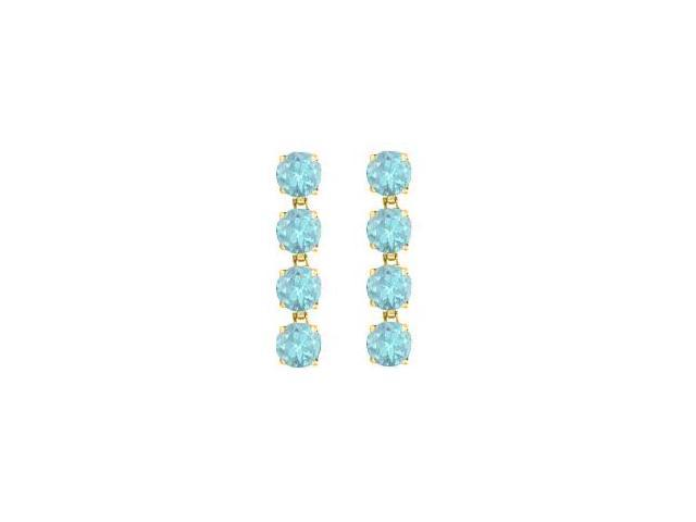 14K Yellow Gold Round Created Aquamarine Drop Earrings with Eight Carat Total Gem Weight