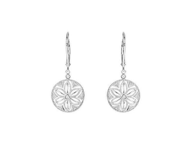 Diamond Lever Back Earrings in .925 Sterling Silver 0.08 Carat Total Diamond Weight