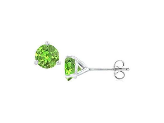 Sterling Silver Martini Style Peridot Stud Earrings with 1.00 CT TGW
