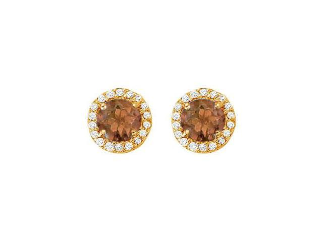 June Birthstone Smoky Quartz and Cubic Zirconia Halo Stud Earrings 14K Yellow Gold 2.25 CT TGW