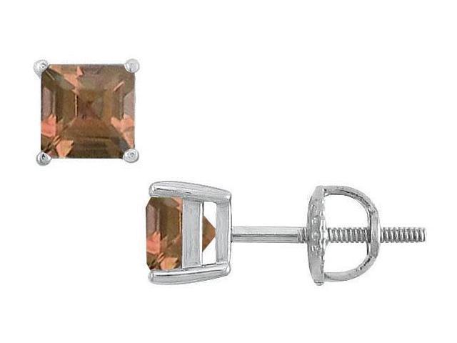 Smoky Topaz Stud Earrings  14K White Gold - 2.00 CT TGW