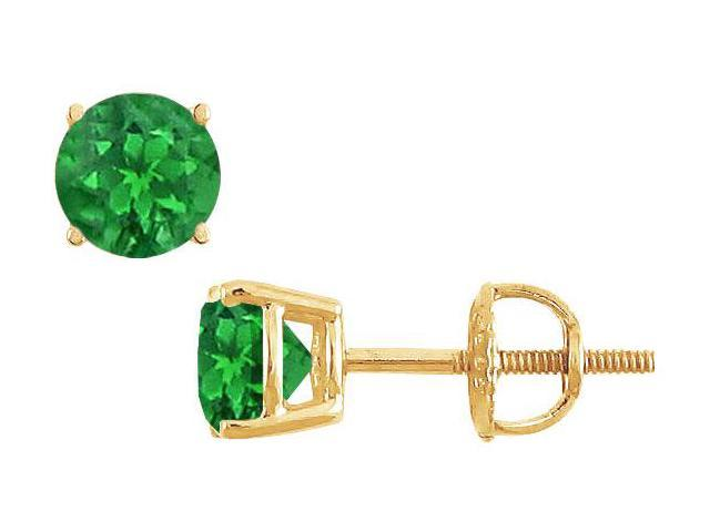 14K Yellow Gold  Prong Set Emerald Stud Earrings 1.00 CT TGW