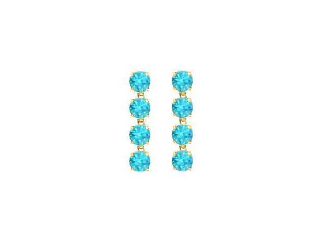 Eight Carat Round Created Blue Topaz Drop Earrings in 14K Yellow Gold Prong Setting