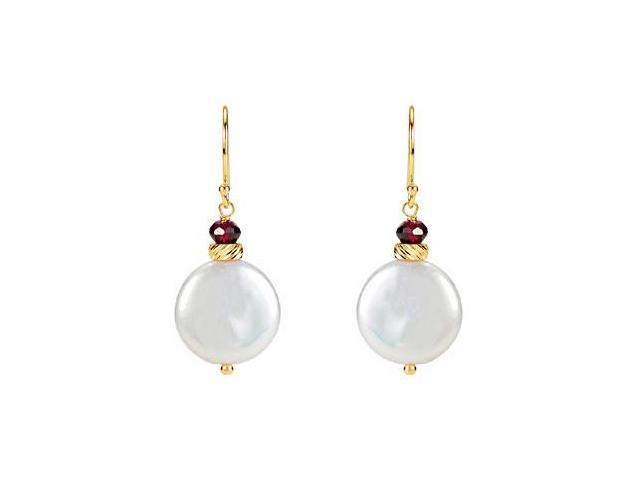 Rhodolite Garnet and Freshwater Cultured Coin Pearl Earrings in 14K Yellow Gold 33.00X13.00 MM