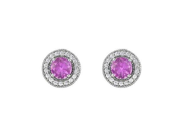 February Birthstone Amethyst and Cubic Zirconia Halo Stud Earrings 14K White Gold 2.50 CT TGW