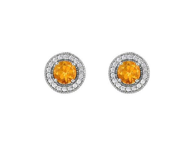 November Birthstone Citrine and Cubic Zirconia Halo Stud Earrings 14K White Gold 2.50 CT TGW