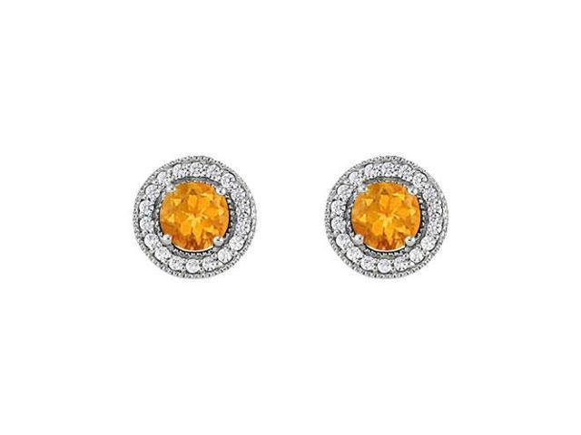 November Birthstone Citrine and Cubic Zirconia Halo Stud Earrings 14K White Gold 2.50 CT TGW