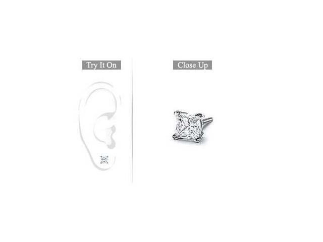 Mens 14K White Gold  Princess Cut Diamond Stud Earring - 0.50 CT. TW.