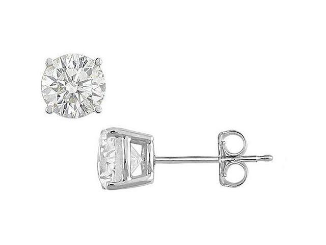 20 Carat Cubic Zirconia Stud Earrings in Sterling Silver Triple AAA Quality in Prong Mounting