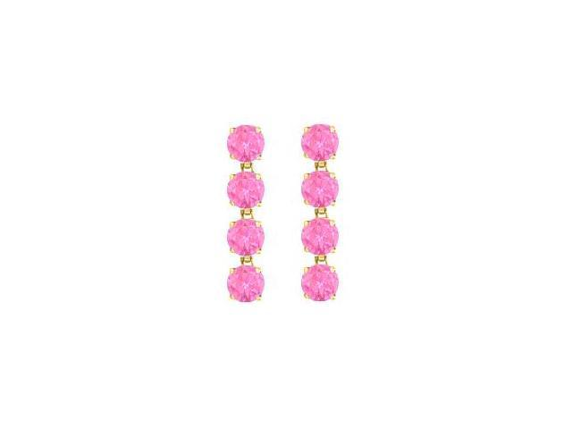 14K Yellow Gold Created Pink Topaz Drop Earrings with Prong Set Eight Carat Total Gem Weight