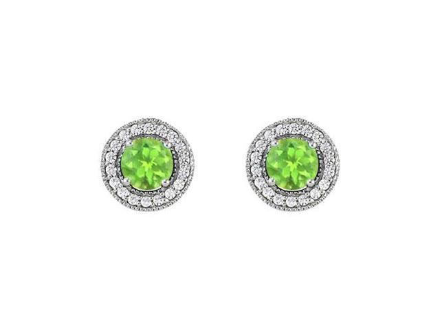August Birthstone Peridot and Cubic Zirconia Halo Stud Earrings 14K White Gold 2.50 CT TGW