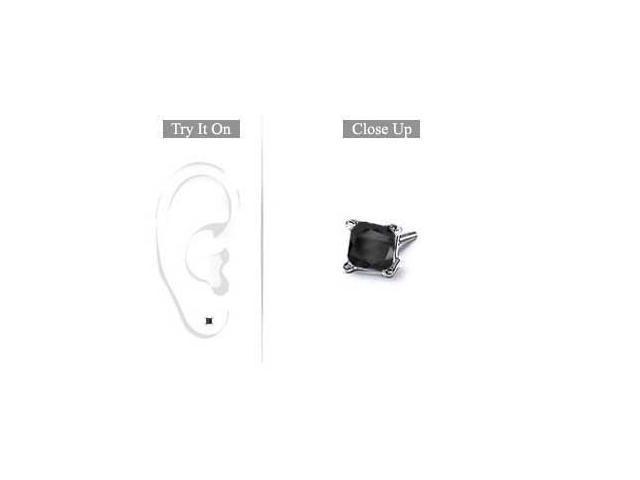 Mens 14K White Gold  Princess Cut Black Diamond Stud Earring - 0.25 CT. TW.