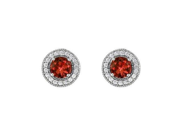 January Birthstone Garnet and Cubic Zirconia Halo Stud Earrings 14K White Gold 2.50 CT TGW