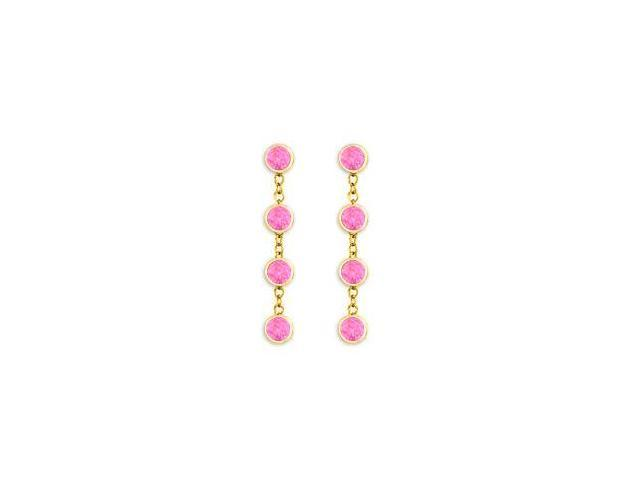 Tiffany Style Chains in 14K Yellow Gold with Pink Sapphire By the Yard Earrings One Carat TGW